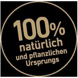 100 % natürlich und pflanzlichen Ursprungs Button in Gold | CharLine GmbH