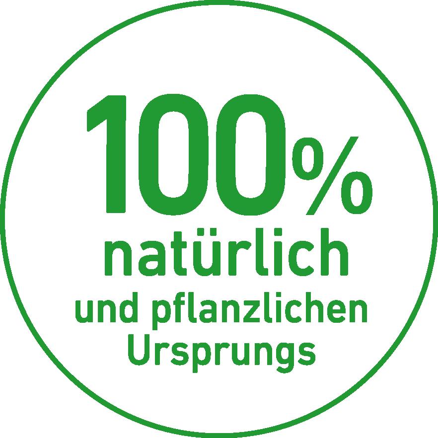100 % natürlich und pflanzlichen Ursprungs Button in grün | CharLine GmbH