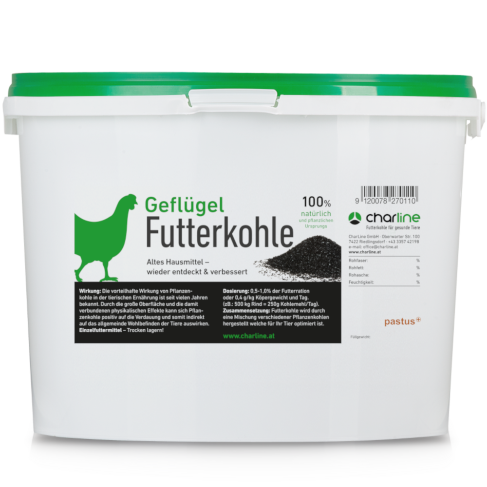 CharLine Futterkohle für Geflügel - Eimer